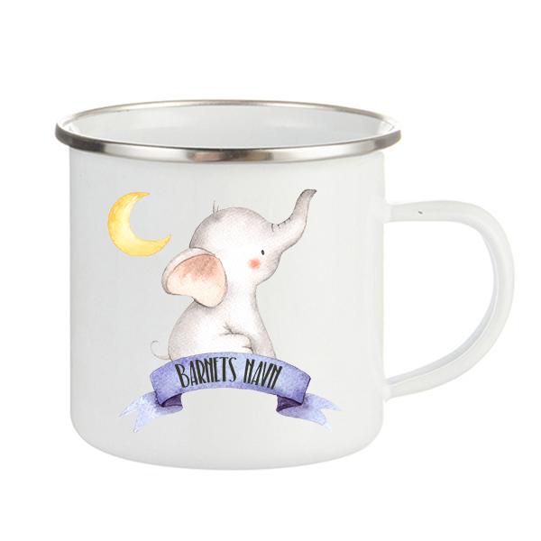Emaljekopp Elefant med måne - Lilla banner